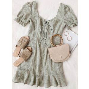 Lulus Rapunzel Sage Green Eyelet Lace Mini Dress